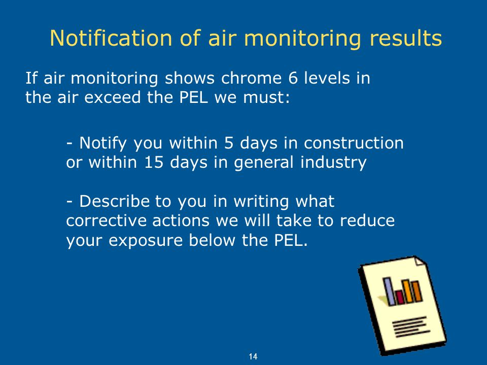 14 Notification of air monitoring results If air monitoring shows chrome 6 levels in the air exceed the PEL we must: - Notify you within 5 days in con