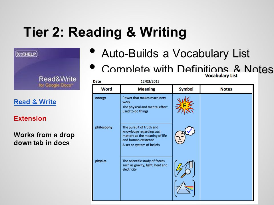 Auto-Builds a Vocabulary List Complete with Definitions & Notes Tier 2: Reading & Writing Read & Write Extension Works from a drop down tab in docs