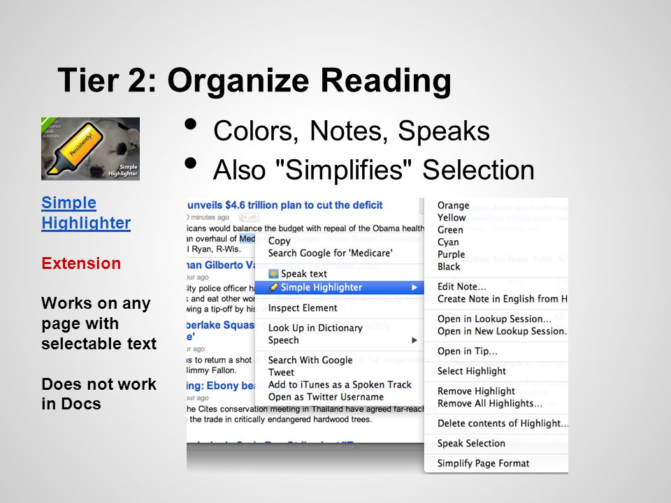 Tier 2: Organize Reading Colors, Notes, Speaks Also