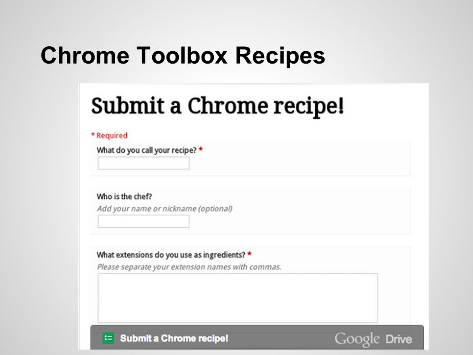 Chrome Toolbox Recipes