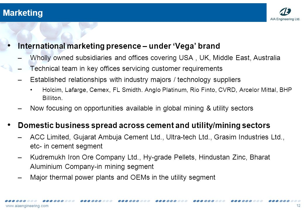 www.aiaengineering.com 12 Marketing International marketing presence – under 'Vega' brand –Wholly owned subsidiaries and offices covering USA, UK, Middle East, Australia –Technical team in key offices servicing customer requirements –Established relationships with industry majors / technology suppliers Holcim, Lafarge, Cemex, FL Smidth.