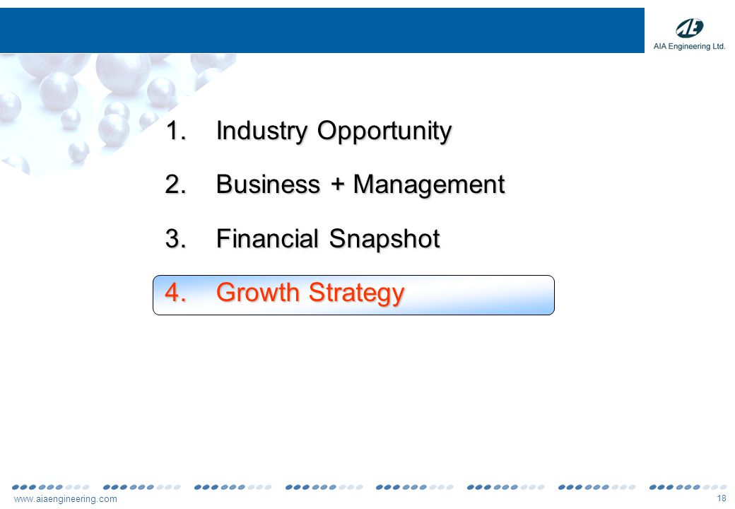 www.aiaengineering.com 19 Growth Strategy Expand focus on global mining & utility segments Capitalize further on predominant position in Cement globally Increased R&D focus to further strengthen total solutions capabilities Focus on strategic relationship / commercial partnerships with international partners to gain access to newer markets Exploring backward integration opportunities for sourcing of certain key inputs and setting up a power plant