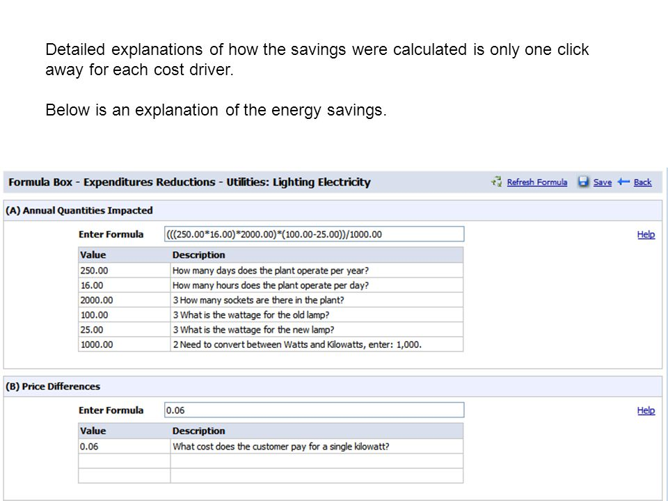 Detailed explanations of how the savings were calculated is only one click away for each cost driver.