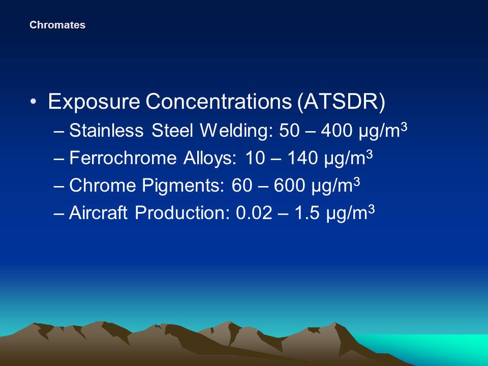 Chromates Exposure Concentrations (ATSDR) –Stainless Steel Welding: 50 – 400 µg/m 3 –Ferrochrome Alloys: 10 – 140 µg/m 3 –Chrome Pigments: 60 – 600 µg/m 3 –Aircraft Production: 0.02 – 1.5 µg/m 3
