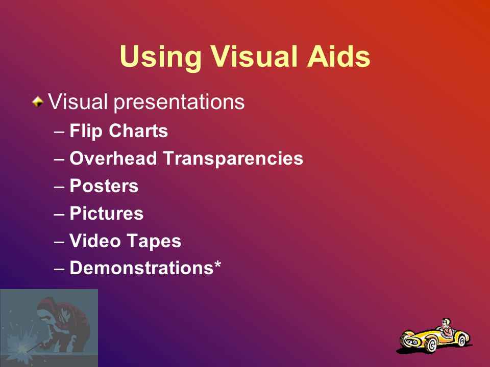 Using Visual Aids Retention of information –Retention three days after a meeting is upto 6 times greater when both visual and oral communications is used.
