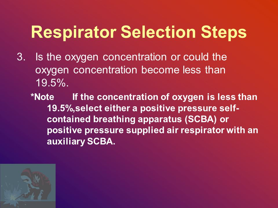Respirator Selection Steps 2.Determine the concentration of the contaminant.