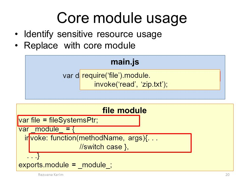 Core module usage 20Rezwana Karim file module var file = fileSystemsPtr; var _module_ = { invoke: function(methodName, args){...