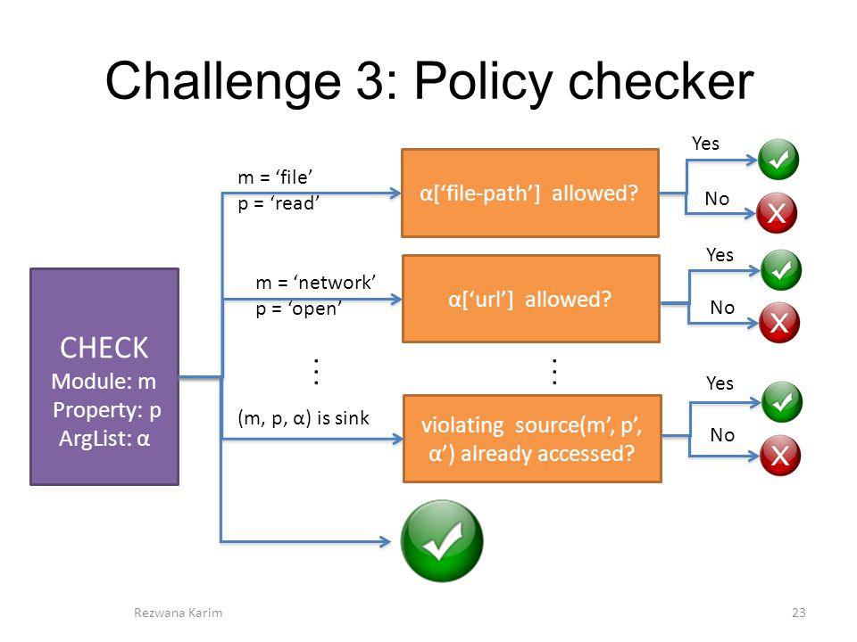 Challenge 3: Policy checker 23Rezwana Karim CHECK Module: m Property: p ArgList: α α['file-path'] allowed.