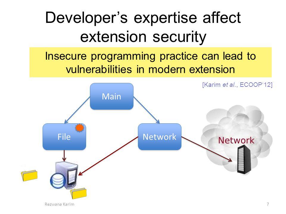 Related work Information flow analysis of extension –SABRE [Dhawan et al., ACSAC'09] –VEX [Bhandhakavi et al., Usenix Security'10] Static analysis of JavaScript –Gatekeeper [Guarnieri et al., Usenix Security'09] –ENCAP [Taly et al., Oakland'11] Study of Chrome extension architecture –Chrome extension analysis [Yan et al., NDSS'12] Runtime Policy enforcement –Sentinel [Onarliuglu et al., DIMVA'13] –Malware extensions [Louw et al., Journal of Computer Virology'08] Privilege Separation –Privtrans [Brumley et al., Usenix Security'04] –Swift [Chong et al., SigOPS OP.
