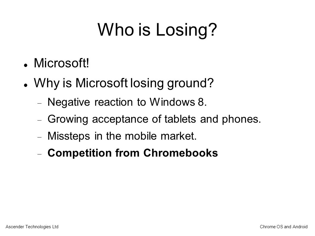 Who is Losing. Microsoft. Why is Microsoft losing ground.
