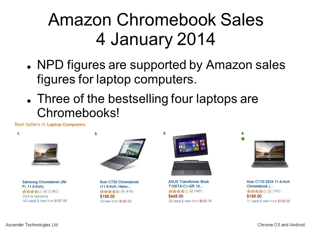 Amazon Chromebook Sales 4 January 2014 NPD figures are supported by Amazon sales figures for laptop computers.