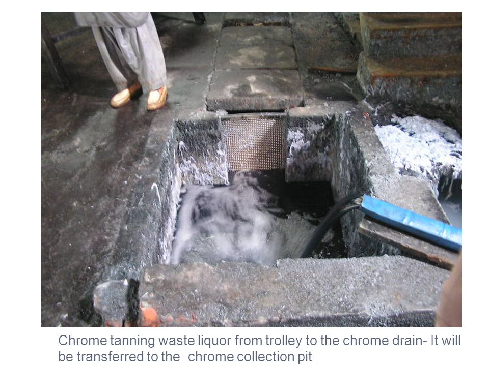 Chrome tanning waste liquor from trolley to the chrome drain- It will be transferred to the chrome collection pit