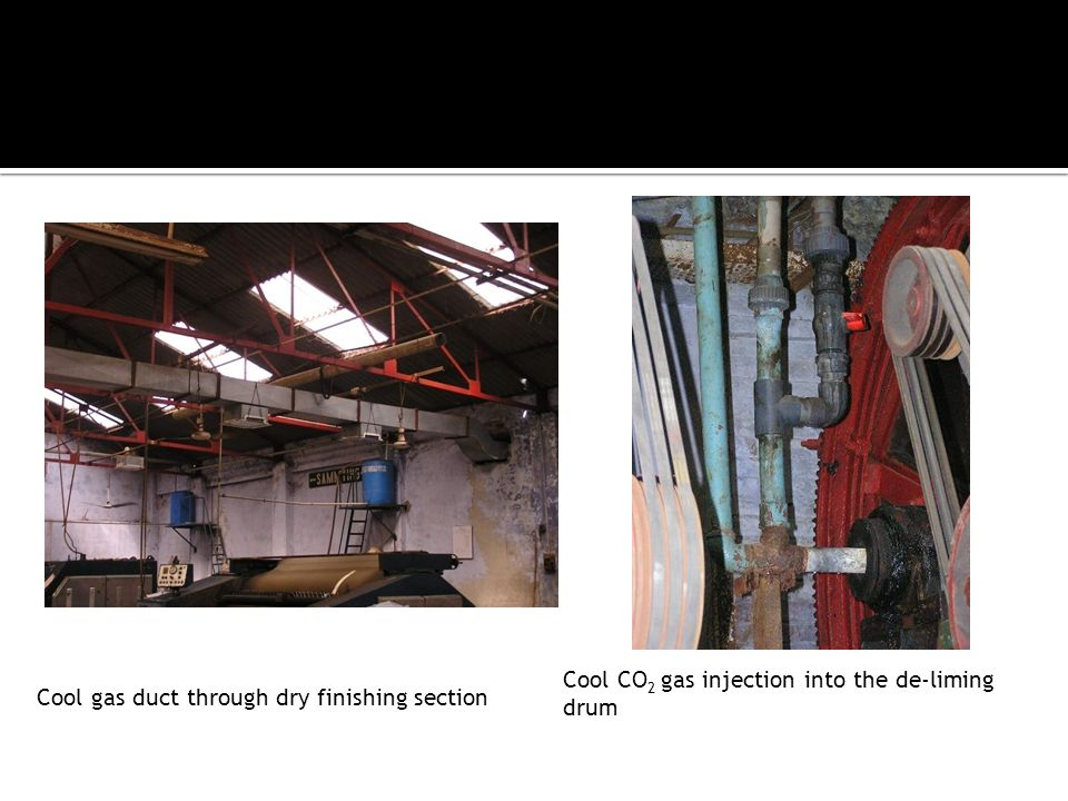 Cool gas duct through dry finishing section Cool CO 2 gas injection into the de-liming drum