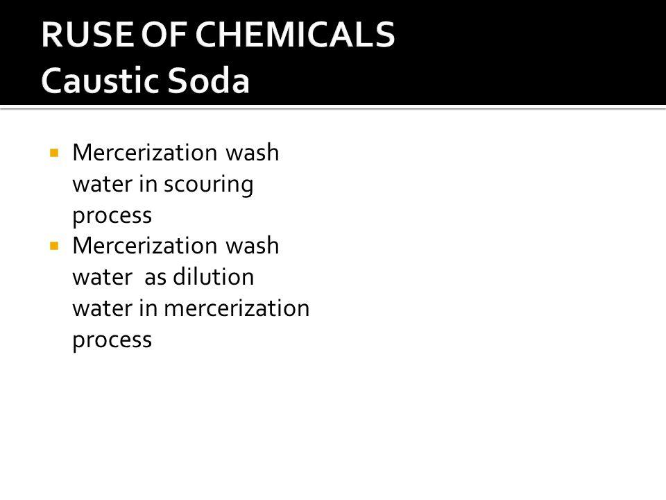  Mercerization wash water in scouring process  Mercerization wash water as dilution water in mercerization process