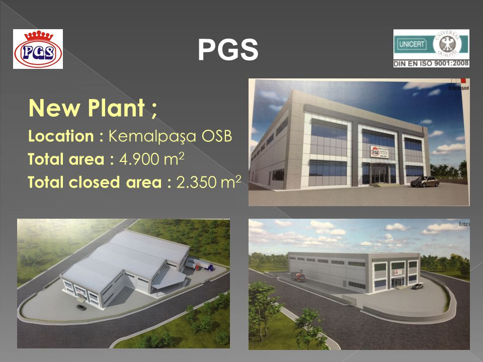 New Plant ; Location : Kemalpaşa OSB Total area : 4.900 m 2 Total closed area : 2.350 m 2