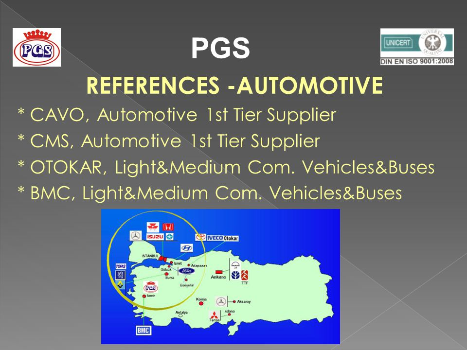 REFERENCES -AUTOMOTIVE * CAVO, Automotive 1st Tier Supplier * CMS, Automotive 1st Tier Supplier * OTOKAR, Light&Medium Com.