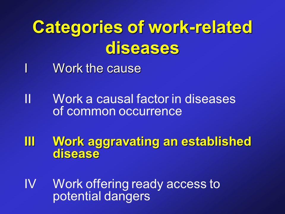 Categories of work-related diseases IWork the cause II Work a causal factor in diseases of common occurrence III Work aggravating an established disease IV Work offering ready access to potential dangers