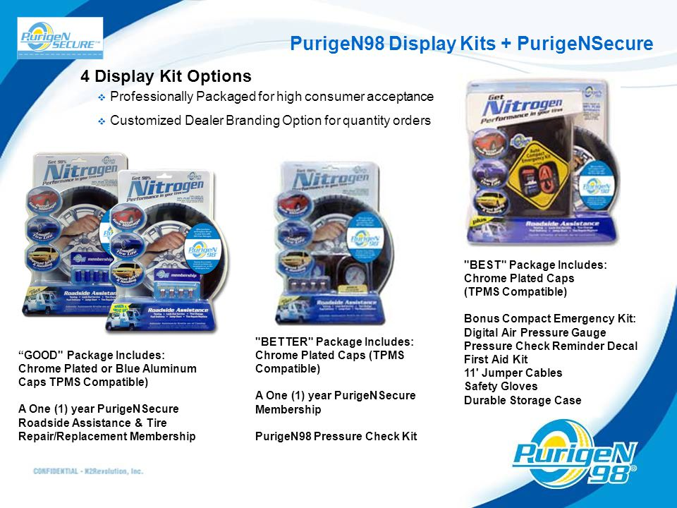 PurigeN98 Display Kits + PurigeNSecure 4 Display Kit Options  Professionally Packaged for high consumer acceptance  Customized Dealer Branding Optio