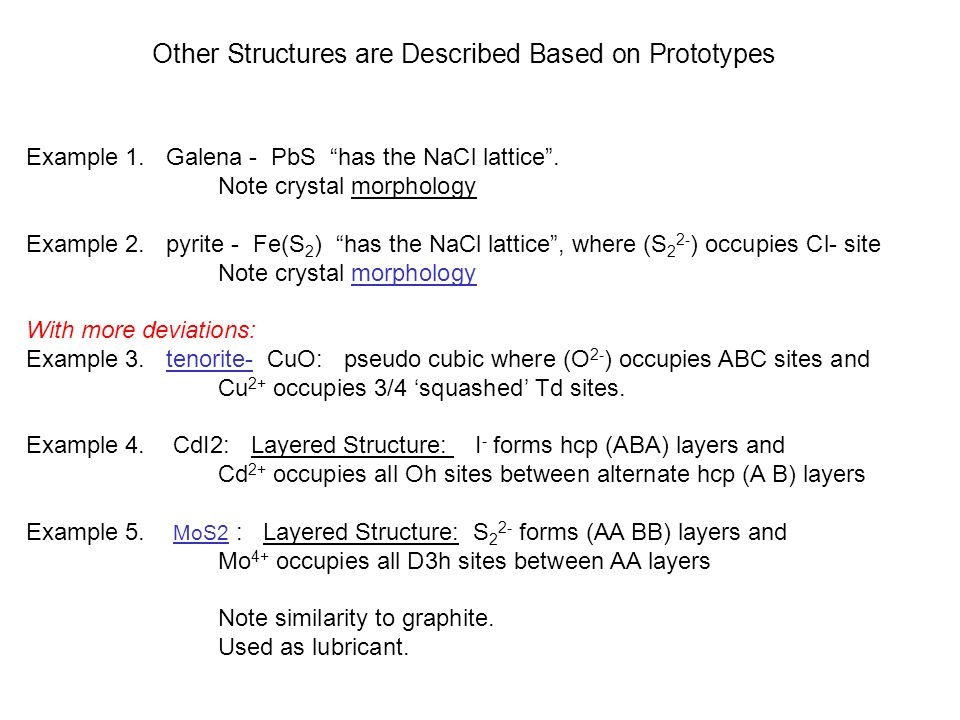 Other Structures are Described Based on Prototypes Example 1.