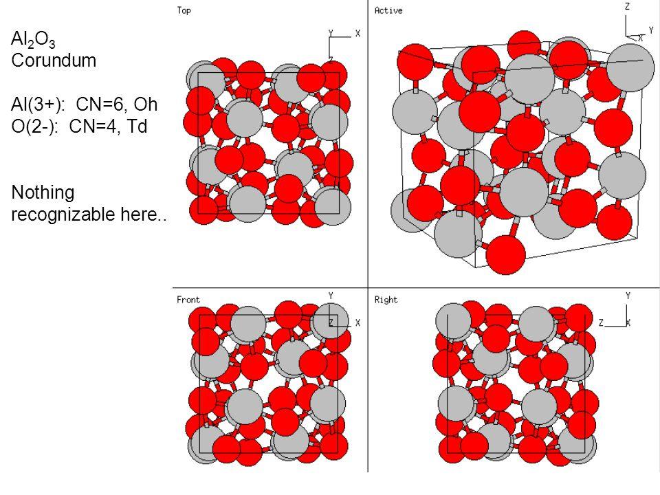 Al 2 O 3 Corundum Al(3+): CN=6, Oh O(2-): CN=4, Td Nothing recognizable here..