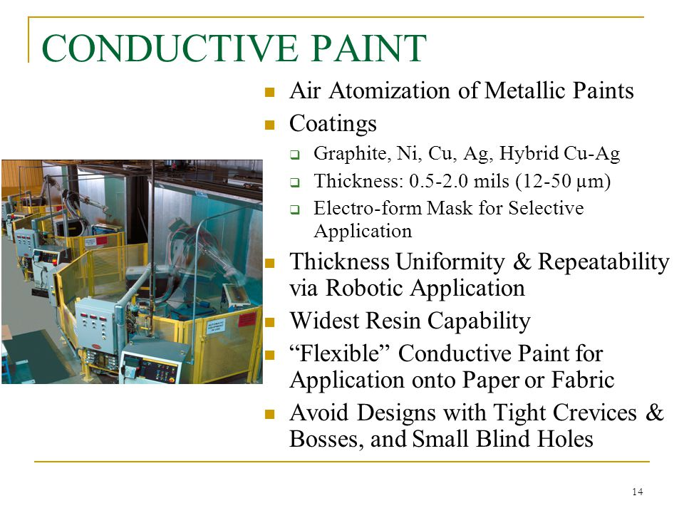 14 CONDUCTIVE PAINT Air Atomization of Metallic Paints Coatings  Graphite, Ni, Cu, Ag, Hybrid Cu-Ag  Thickness: 0.5-2.0 mils (12-50 µm)  Electro-fo