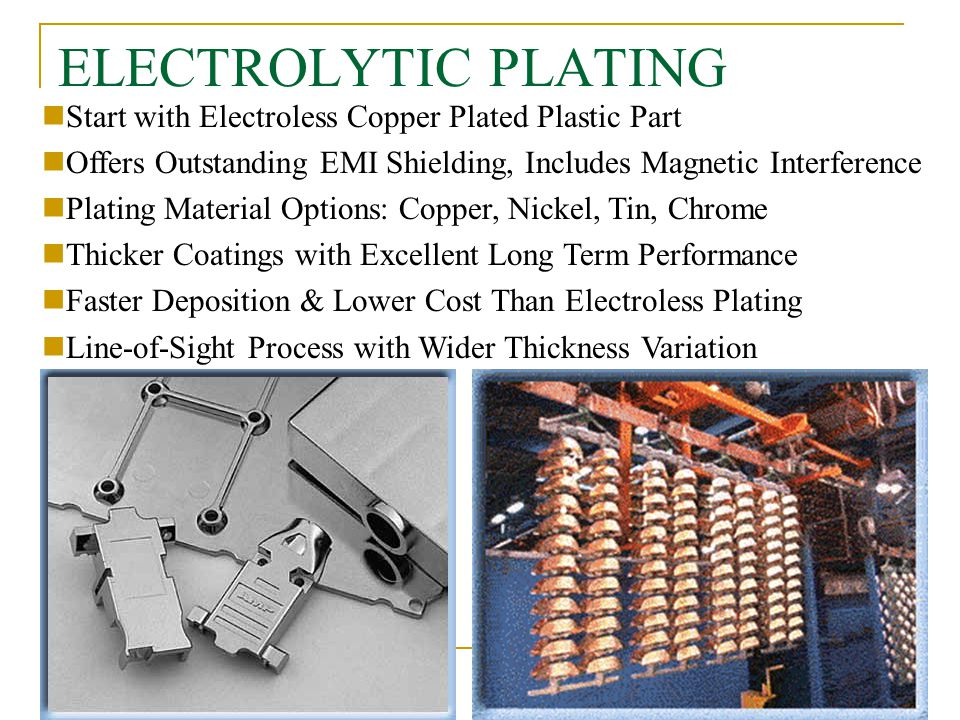 9 ELECTROLYTIC PLATING Start with Electroless Copper Plated Plastic Part Offers Outstanding EMI Shielding, Includes Magnetic Interference Plating Mate