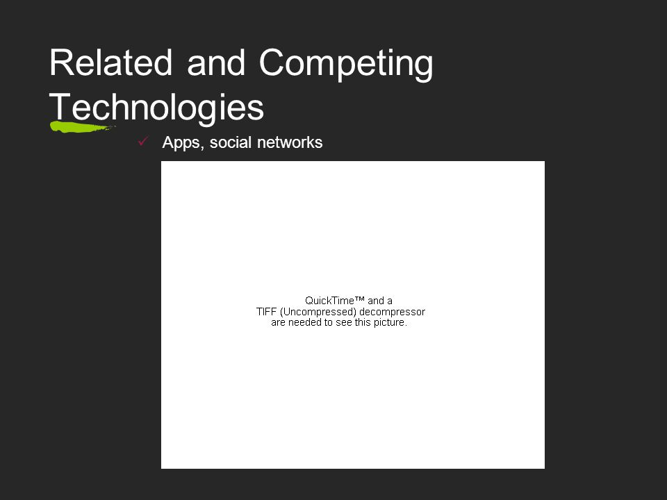 Related and Competing Technologies Apps, social networks