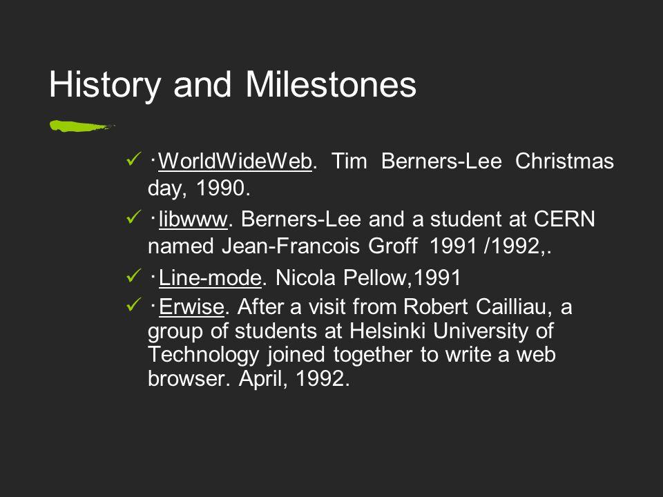 History and Milestones ・ WorldWideWeb. Tim Berners-Lee Christmas day, 1990.