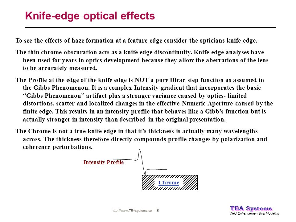 Yield Enhancement thru Modeling TEA Systems http://www.TEAsystems.com - 5 Knife-edge optical effects To see the effects of haze formation at a feature