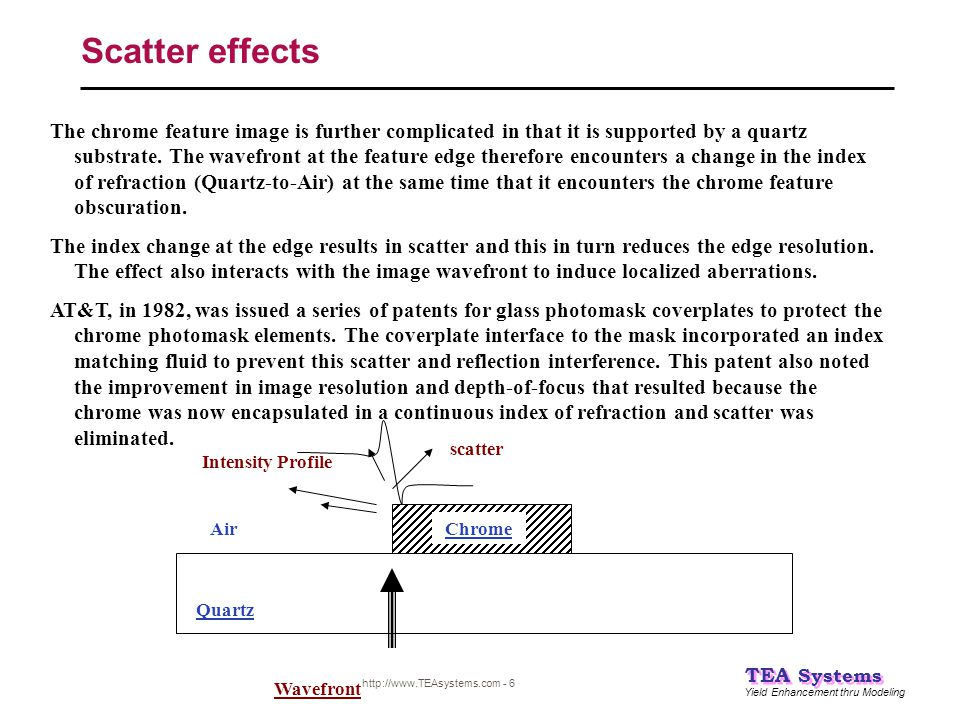 Yield Enhancement thru Modeling TEA Systems http://www.TEAsystems.com - 27 Conclusions #3 Weir PW:  The Weir PW techniques directly measure the process degradation of the reticle to feature profiles, loss of Exposure Latitude and Depth-of-Focus reduction through modeling of the response across the entire image wavefront.