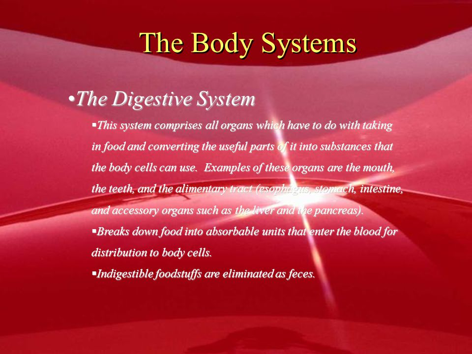 The Body Systems The Digestive SystemThe Digestive System  This system comprises all organs which have to do with taking in food and converting the u