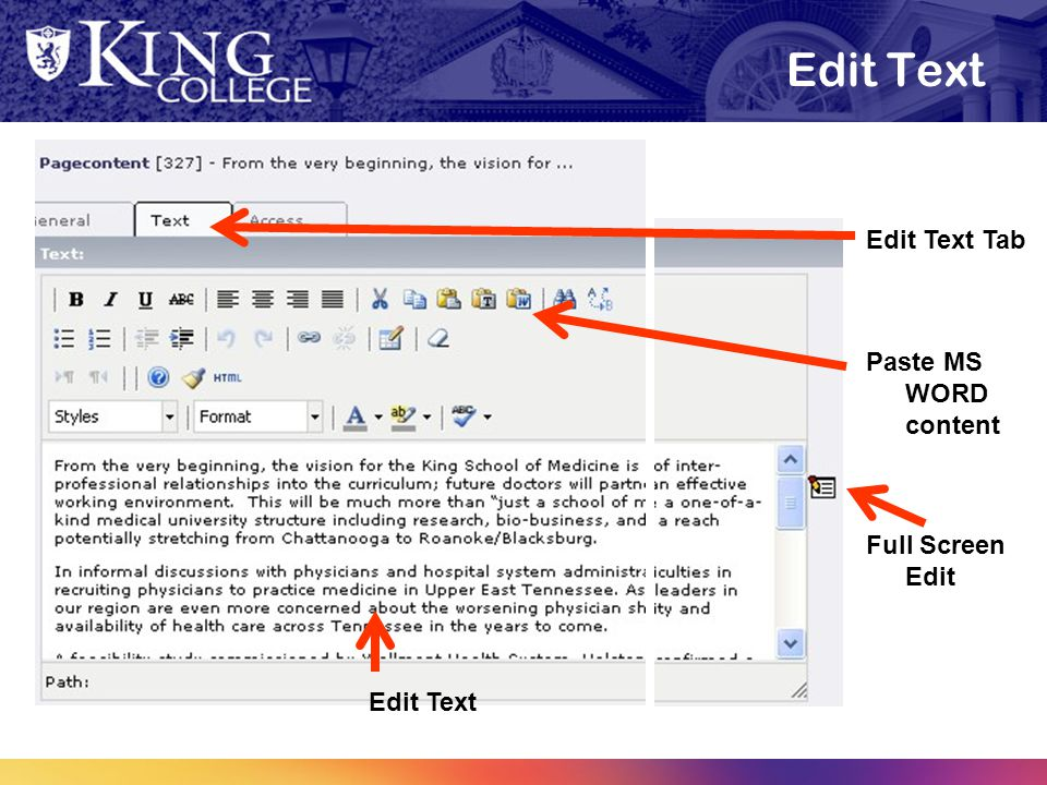 Edit Text Edit Text Tab Paste MS WORD content Edit Text Full Screen Edit