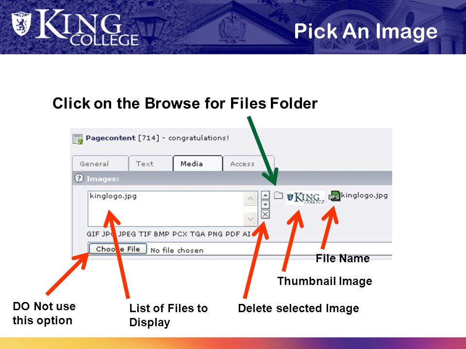 Pick An Image Click on the Browse for Files Folder DO Not use this option List of Files to Display Delete selected Image Thumbnail Image File Name