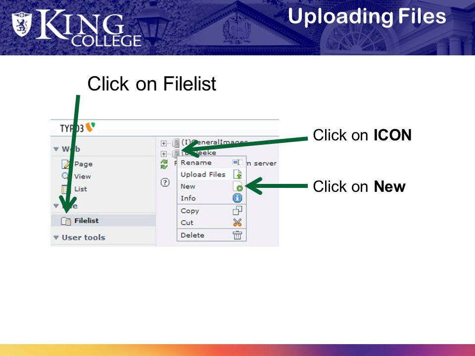 Uploading Files Click on Filelist Click on ICON Click on New