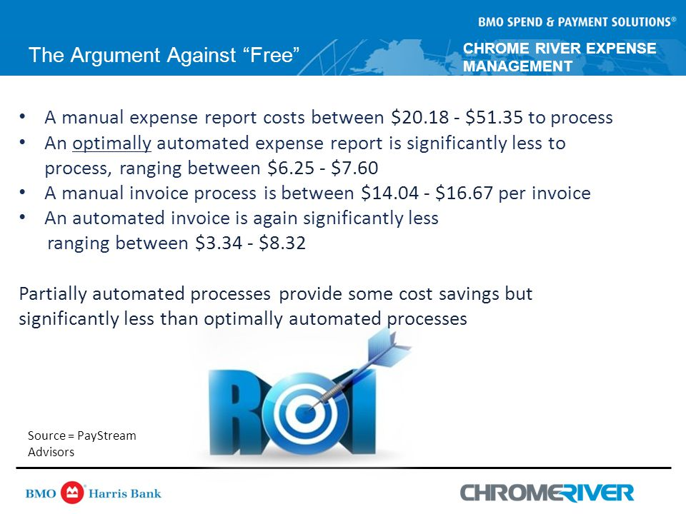 CHROME RIVER EXPENSE MANAGEMENT The Argument Against Free A manual expense report costs between $20.18 - $51.35 to process An optimally automated expense report is significantly less to process, ranging between $6.25 - $7.60 A manual invoice process is between $14.04 - $16.67 per invoice An automated invoice is again significantly less ranging between $3.34 - $8.32 Partially automated processes provide some cost savings but significantly less than optimally automated processes Source = PayStream Advisors