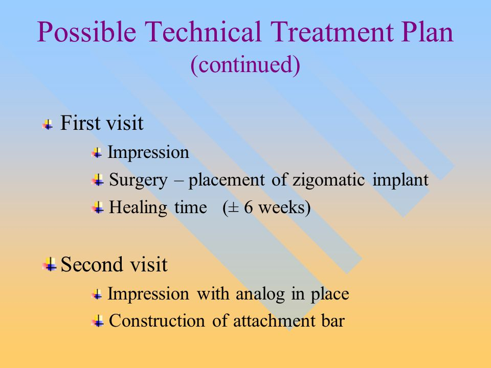 Possible Technical Treatment Plan (continued) First visit Impression Surgery – placement of zigomatic implant Healing time (± 6 weeks) Second visit Impression with analog in place Construction of attachment bar