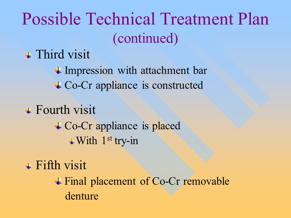 Possible Technical Treatment Plan (continued) Third visit Impression with attachment bar Co-Cr appliance is constructed Fourth visit Co-Cr appliance is placed With 1 st try-in Fifth visit Final placement of Co-Cr removable denture