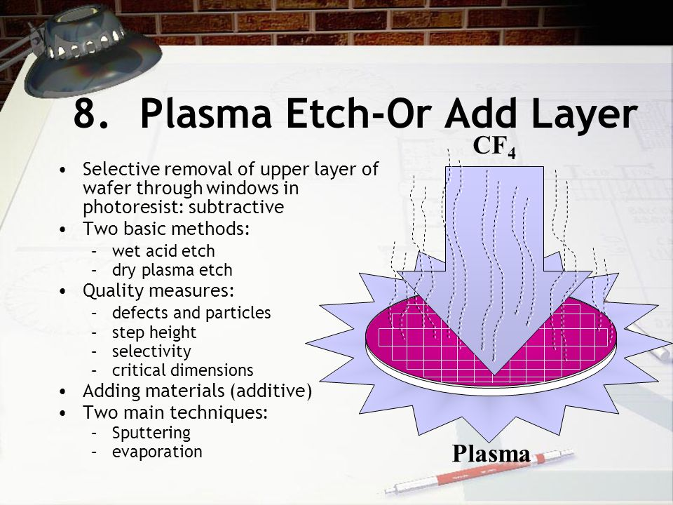 8.Plasma Etch-Or Add Layer Selective removal of upper layer of wafer through windows in photoresist: subtractive Two basic methods: –wet acid etch –dry plasma etch Quality measures: –defects and particles –step height –selectivity –critical dimensions Adding materials (additive) Two main techniques: –Sputtering –evaporation Plasma CF 4