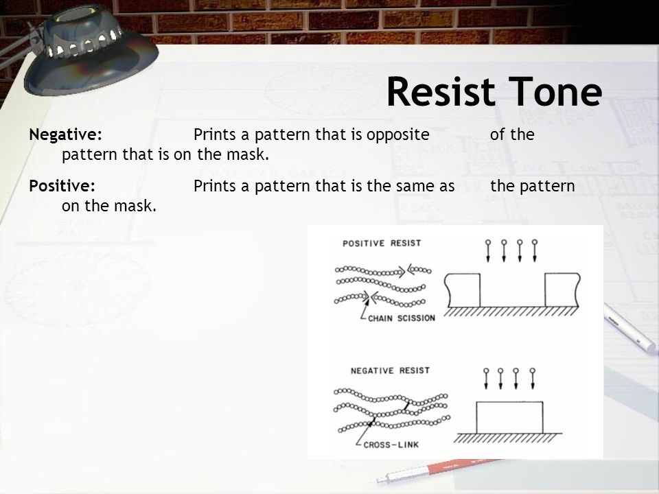 Resist Tone Negative:Prints a pattern that is opposite of the pattern that is on the mask.