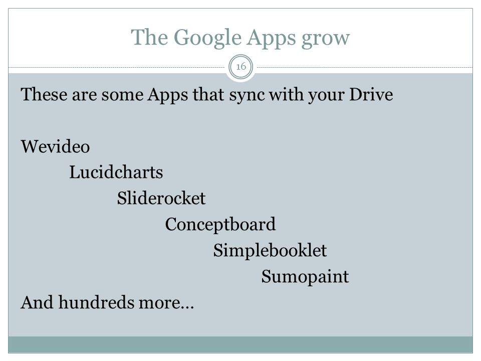 The Google Apps grow 16 These are some Apps that sync with your Drive Wevideo Lucidcharts Sliderocket Conceptboard Simplebooklet Sumopaint And hundreds more…