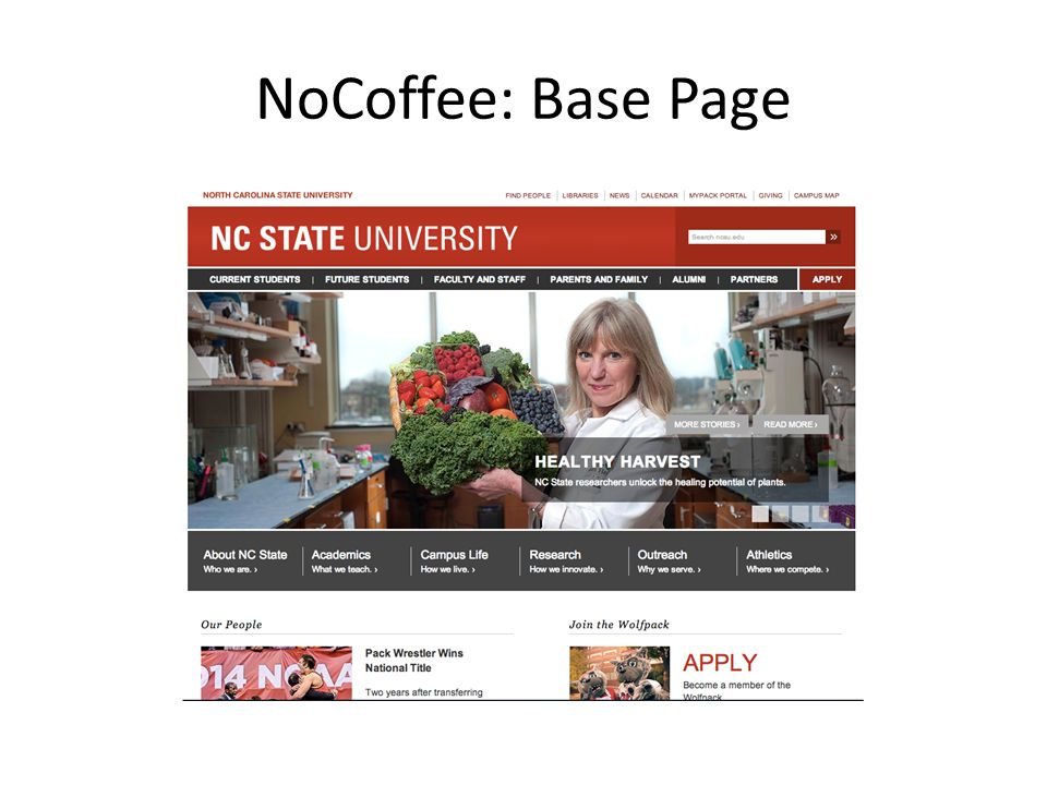 NoCoffee: Base Page