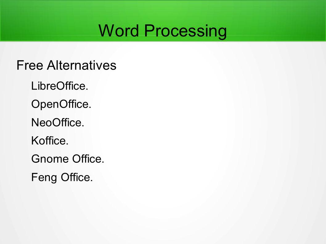 Word Processing Free Alternatives LibreOffice.OpenOffice.