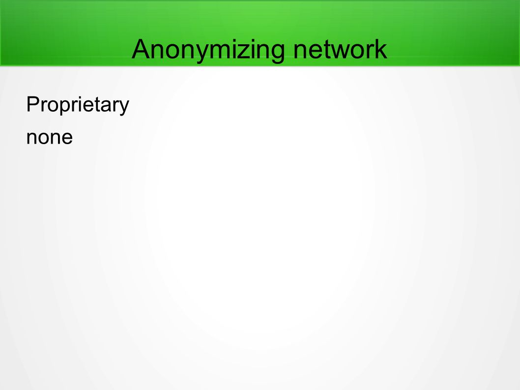 Anonymizing network Proprietary none