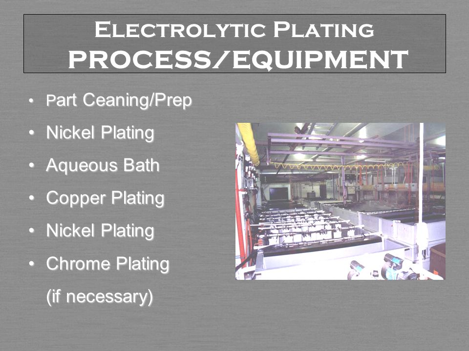 Electrolytic Plating PROCESS/EQUIPMENT P art Ceaning/PrepP art Ceaning/Prep Nickel PlatingNickel Plating Aqueous BathAqueous Bath Copper PlatingCopper Plating Nickel PlatingNickel Plating Chrome PlatingChrome Plating (if necessary)