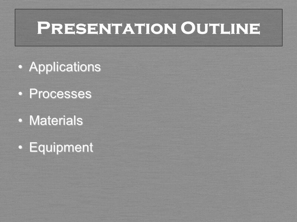 Presentation Outline ApplicationsApplications ProcessesProcesses MaterialsMaterials EquipmentEquipment