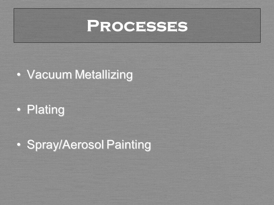 Processes Vacuum MetallizingVacuum Metallizing PlatingPlating Spray/Aerosol PaintingSpray/Aerosol Painting