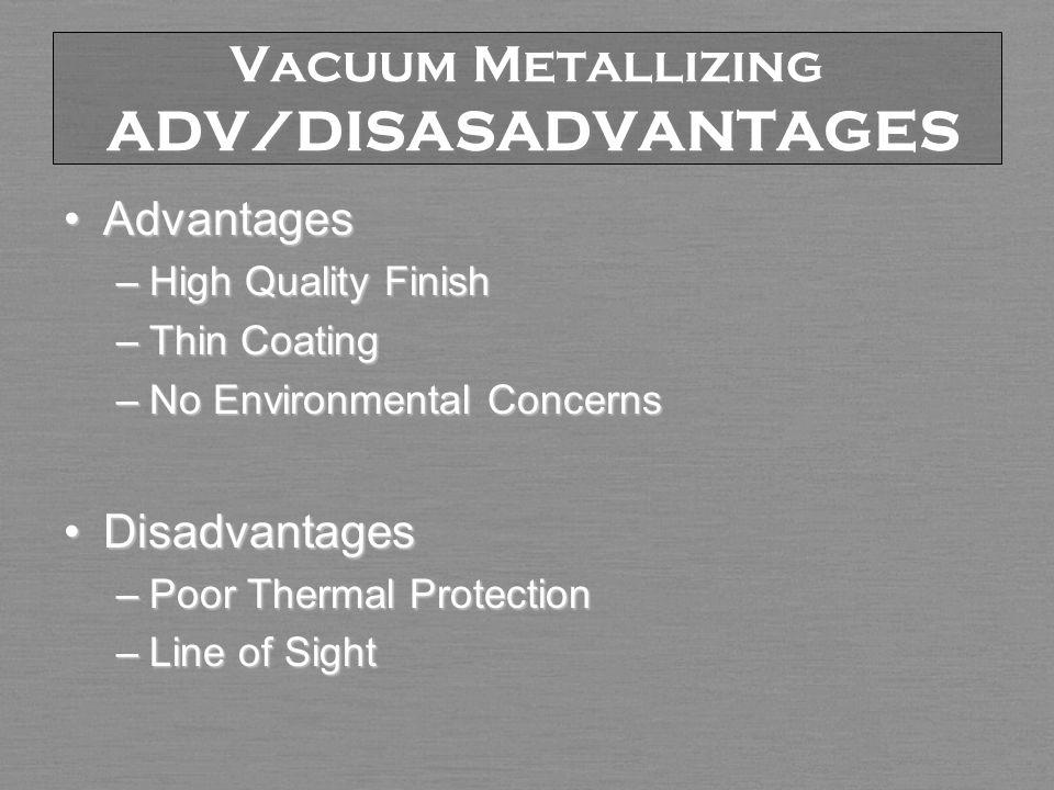 Vacuum Metallizing ADV/DISASADVANTAGES AdvantagesAdvantages –High Quality Finish –Thin Coating –No Environmental Concerns DisadvantagesDisadvantages –Poor Thermal Protection –Line of Sight