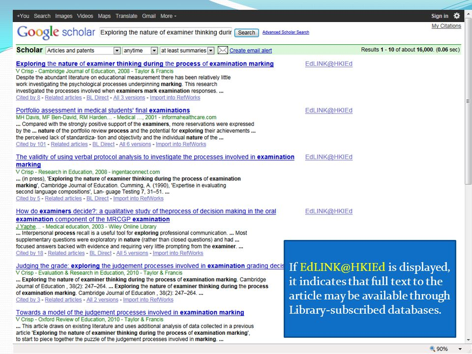 21 Google Scholar If EdLINK@HKIEd is displayed, it indicates that full text to the article may be available through Library-subscribed databases.