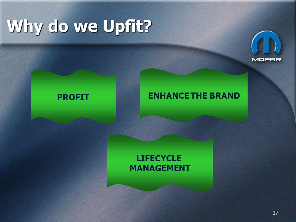 17 Why do we Upfit PROFIT ENHANCE THE BRAND LIFECYCLE MANAGEMENT