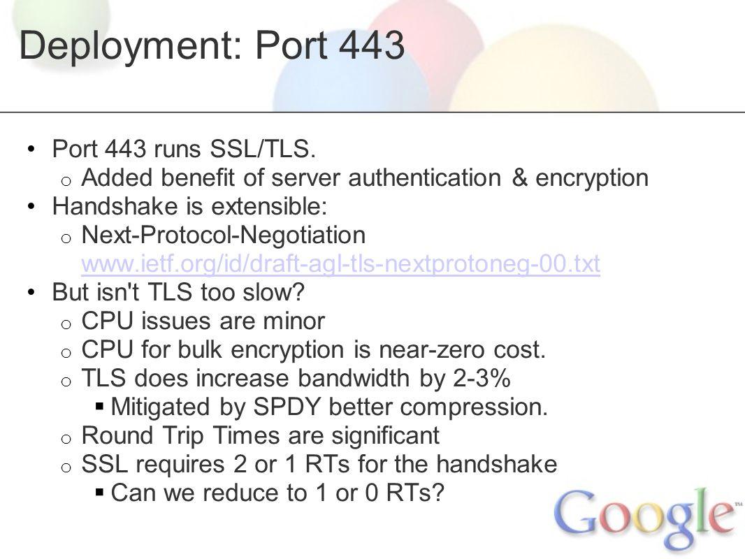 Deployment: Port 443 Port 443 runs SSL/TLS.